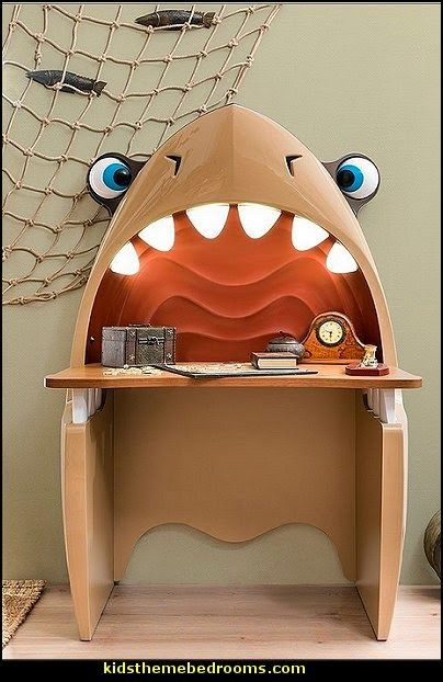 Shark Study Desk ! Kids Bedroom Furniture - Storage Computer Table - Child Room