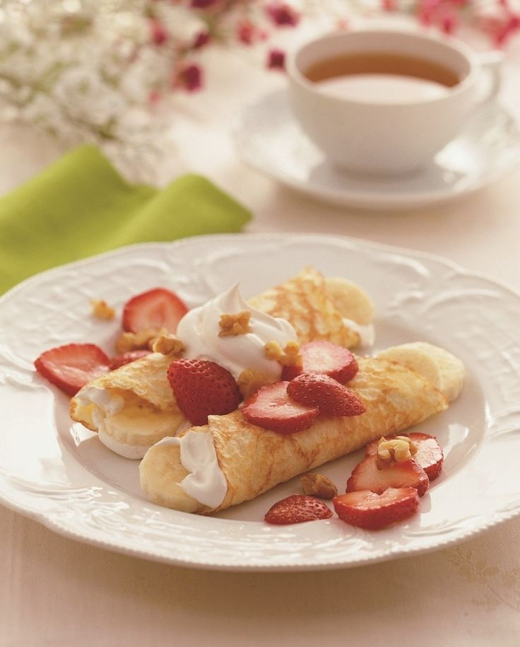 Did you know you can use Bisquick mix to make crepes? You can, and our members swear they are to-die-for delicious! We filled them here with creamy strawberry whipped cream, but you can swap out the strawberries for your favorite fruit.