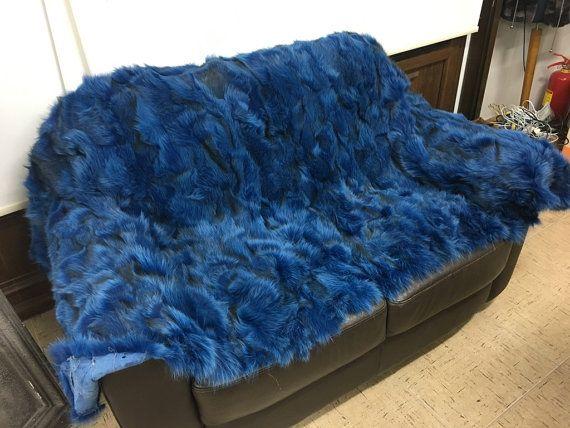 Electric blue fox fur blanket/throw by skffurs on Etsy