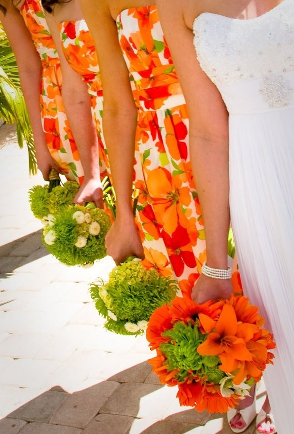 Orange and green Patterned Bridesmaids dresses8 best     images on Pinterest   Centerpiece ideas  . Orange And Lime Green Wedding Theme. Home Design Ideas