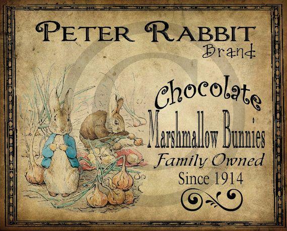 Primitive Vintage Peter Rabbit Printable Jpeg Digital  Image Feedsack Logo for Pillows Pantry Labels Hang tags Magnets Ornies