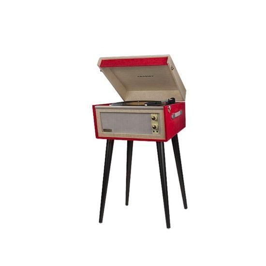 Tourne-disque Bermuda  sur Fubiz For SPOOTNIK. Modèle portatif encastré dans une valise en similicuir et monté sur des pieds amovibles. Vous pourrez ainsi profitez du son chaud et intense des disques ...