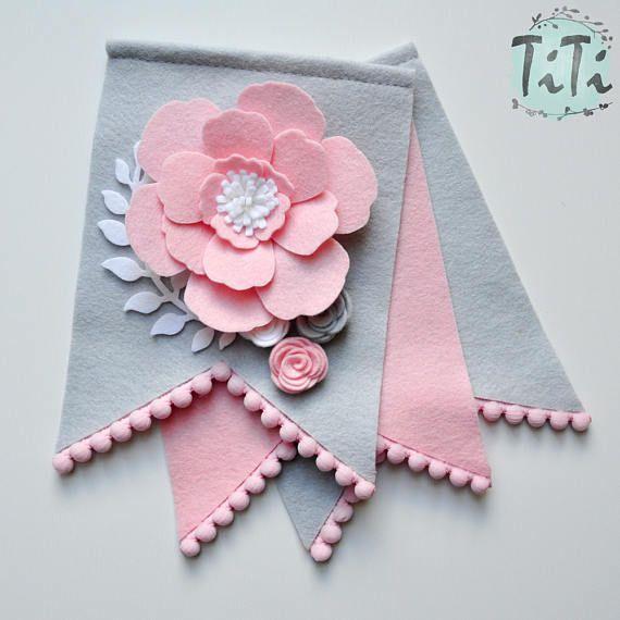 Personalized felt baby pennant banner name Custom Boho decor