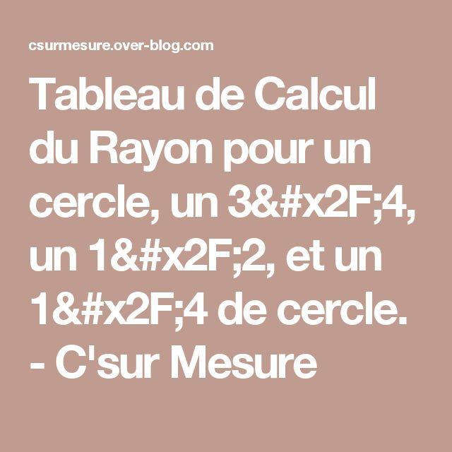 Tableau de Calcul du Rayon pour un cercle, un 3/4, un 1/2, et un 1/4 de cercle. -  C'sur Mesure