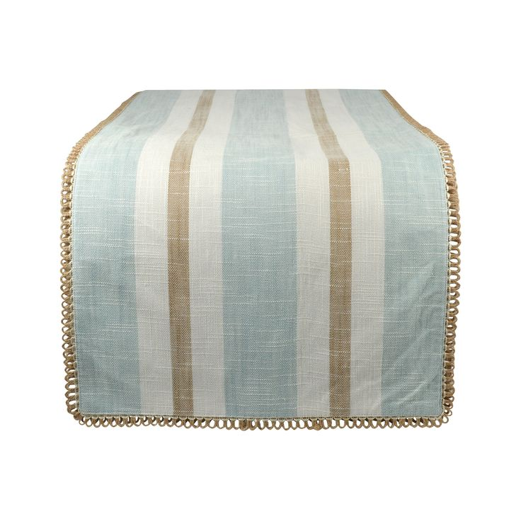 Pomeroy POM-964008 Carril Collection Light Blue,White,Sand Finish Table Runner