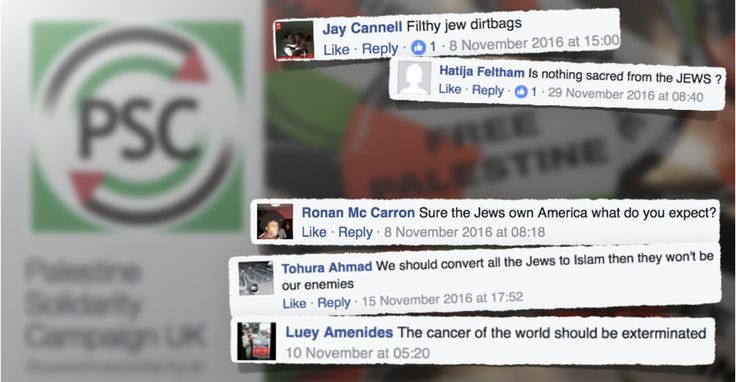 The Palestine support group condemned users on its Facebook page posting anti-Semitic messages, including conspiracy theories, Holocaust denial and revisionism