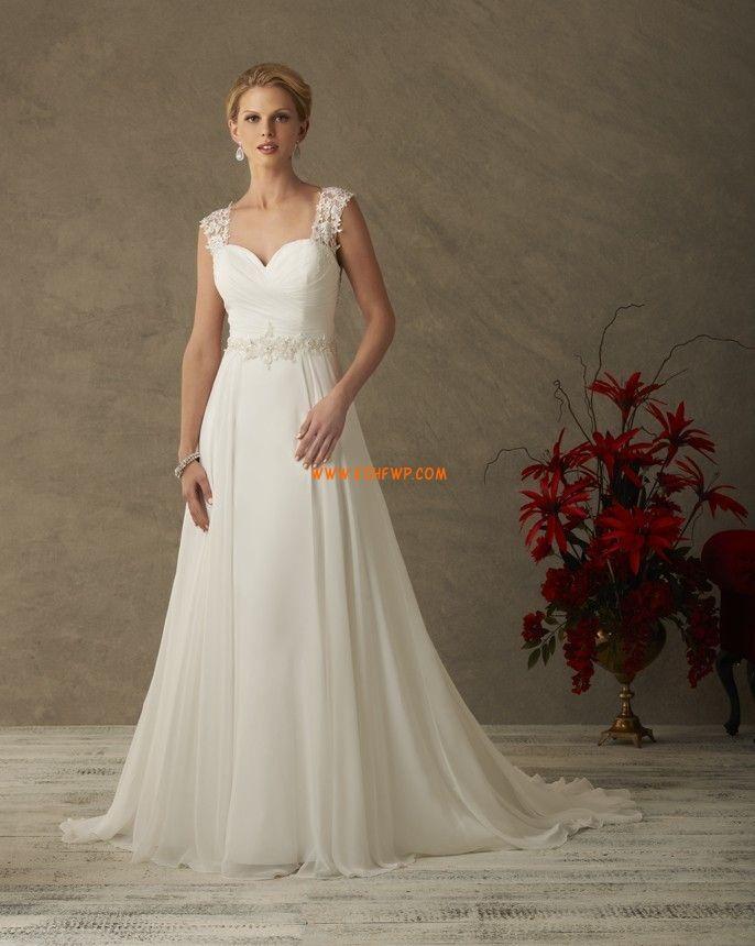 Šifón Nabírání Zip Svatební šaty 2015
