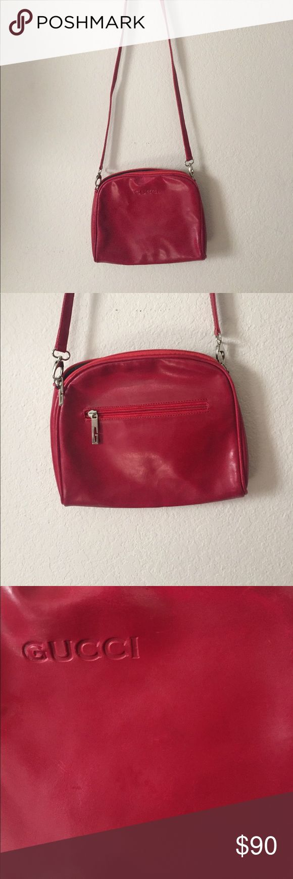 Vintage Gucci Purse Red leather over-the-shoulder bag. Some signs of wear on the leather but has held up very well. Do NOT try to spam me on this post- I will report and block you immediately. Gucci Bags Crossbody Bags