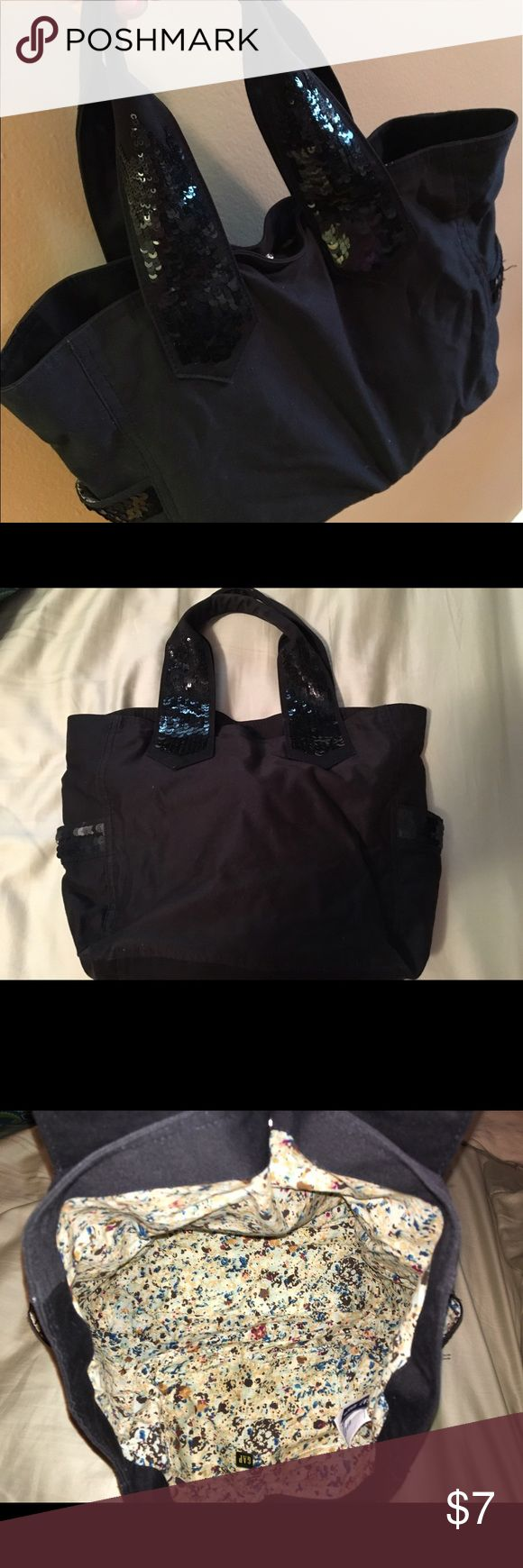 Sequin black Gap tote bag (large purse) Adorable, gently used tote style handbag from Gap. Black cotton with black sequins on handles and side pockets. Only used 2-3 times. From a pet-free and smoke-free home. GAP Bags Totes