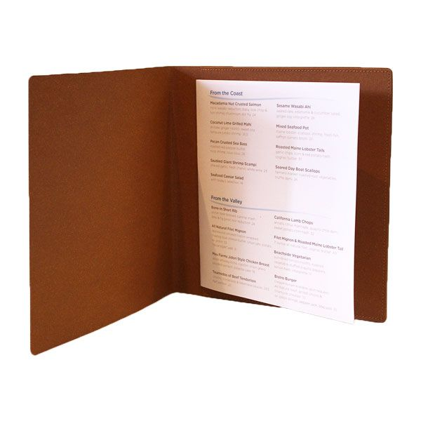 Square Tan Leather to hold a single menu sheet