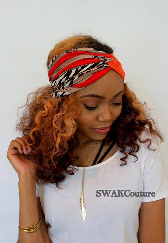 73df277f516 Turban Twist Headband Wide Head Wrap Orange Black Paris Couture ...