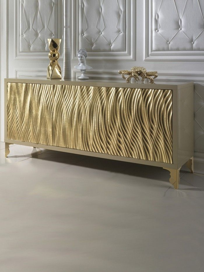 This luxury piece of furniture is the place where elegance and exclusivity find each other | Modern Cabinets | Golden Buffet | Contemporary Golden Cabinets | Modern Buffet | For more inspirational ideas take a look at: www.bocadolobo.com