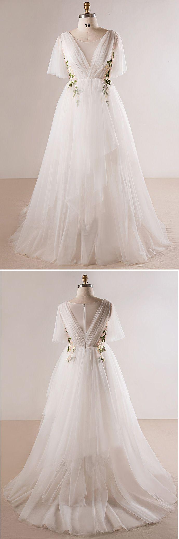 Plus Size Flowing Long Tulle Flowers Beach Wedding Dress For Outdoor Weddings #MN026 – GemGrace.com