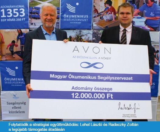 """""""Az AVON Magyarország 12 millió forinttal járult hozzá a Magyar Ökomenikus Segélyszervezet által üzemeltetett Titkos Menedékház eszközrendszerének bővítéséhez, valamint középiskolásoknak szóló, több mint 100 alkalomból álló prevenciós programhoz."""""""