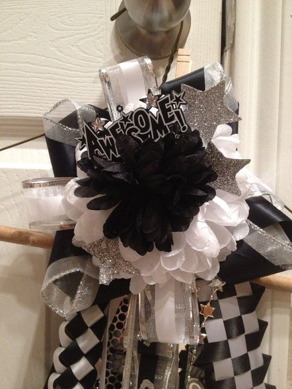 Like the stars and ribbon -  Homecoming Garter  Black and SilverReady To Ship by MumAMia3, $38.00