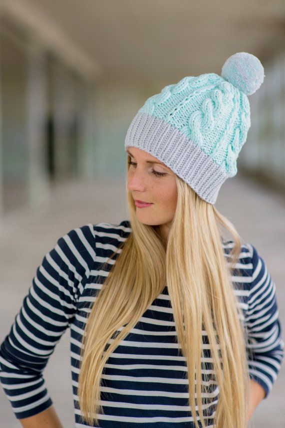 Mint and Grey Wool Beanie / The Adele / Hand Knit by woolture