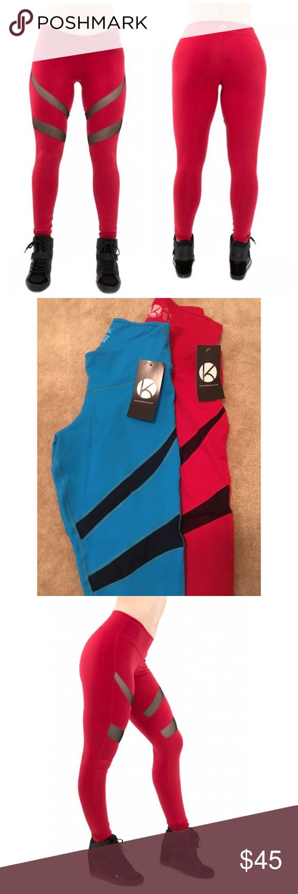 ❤️‼️ Sexy mesh gym leggings Cute yoga pants with mesh cut outs on the front.  Available in red and blue ❤️❤️ Pants Leggings