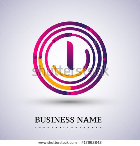 Letter I vector logo symbol in the colorful circle thin line. Vector design template elements for your application or company identity. - stock vector
