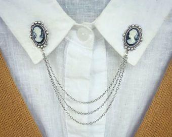 pernos de collar de camafeo, collar cadena, broche de collar, pin de solapa, pin de camafeo, broche camafeo de plata