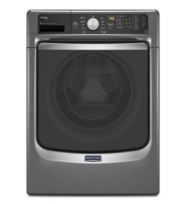 """Maytag 27"""" Front Load Washer with 4.5 Cu. Ft. Capacity, 11 Wash Cycles, 1400 RPM, Steam Cycle, PowerWash, Internal Heater, Cold Wash, 6 hour Fresh Spin, Stainless Steel Drum, Energy Star Certified in Metallic Slate MHW7100DC at appliancesconnection.com. Make everyday laundry loads a breeze with the extra-large capacity of this 4.5 cu. ft. steam washing machine that provides the Best Cleaning in the industry enabled by the PowerWash® cycle2. #powerwash #steamforstains #maytag"""