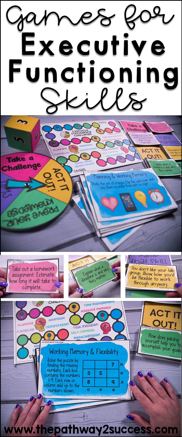 Games and activities that teach critical executive functioning skills, including self-control, attention, organization, flexibility, working memory, planning, and more! #pathway2success #executivefunctioning