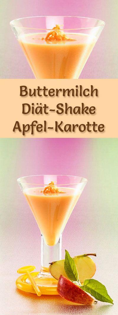 Buttermilch-Shake mit Apfel und Karotte - ein Rezept mit viel Eiweiß und wenig Kalorien, perfekt zum Abnehmen, gesund und lecker ...