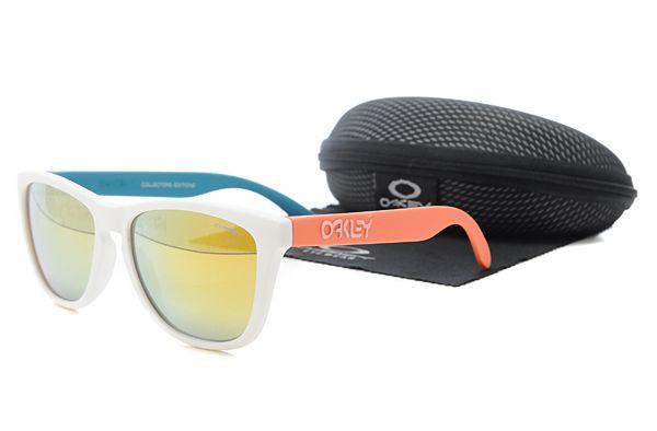 $10.99 New Style Oakley Frogskins Sunglasses Orange and White Frame Orange Lens Flash Buy www.oakleysunglassescheapdeals.com