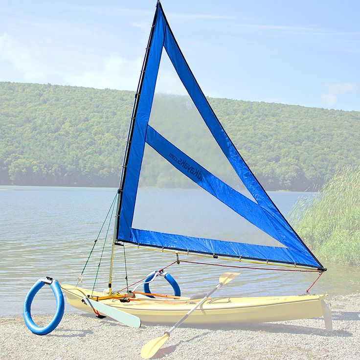 Serenity Upwind Kayak Sail and Canoe Sail Kit (Blue). Complete with Telescoping Mast, Boom, Outriggers, Lee Boards, All Rigging Included! Compact, Portable, Easy to Set up - Start Sailing this season!