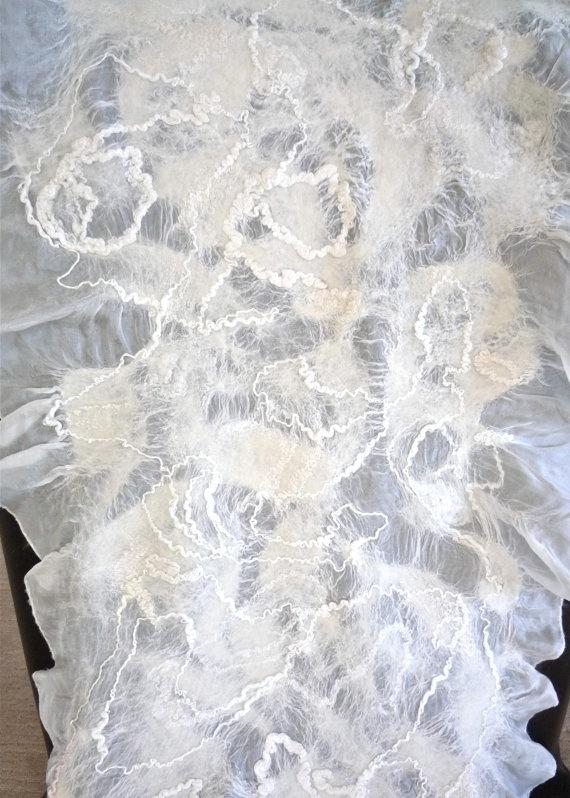 Summer light scarf silk and wool soft elegant white by artshells, $110.00