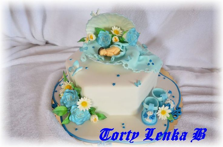 christening cake in blue