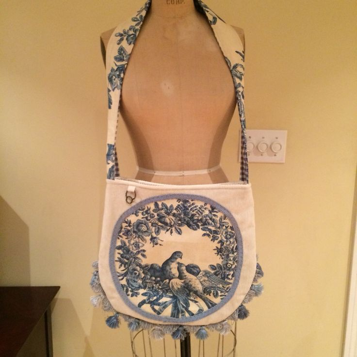 Crossbody,velvet with linnen toile de jouy applique by Delightful Creation