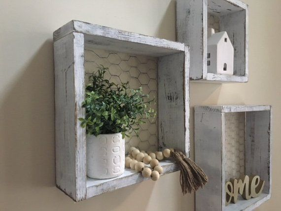 Chicken Wire Box Shelves Chicken Wire Shelf Chicken Wire Box Rustic Shelf Farmhouse Style Living Room Furniture Wood Box Shelves Farmhouse Style Living Room