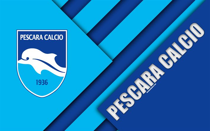 Download wallpapers Delfino Pescara 1936, 4k, material design, logo, blue abstraction, emblem, Italian football club, Pescara, Italy, Serie B