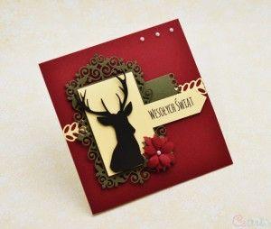 Kartka na Boże Narodzenie Wesołych Świąt jeleń bordowa