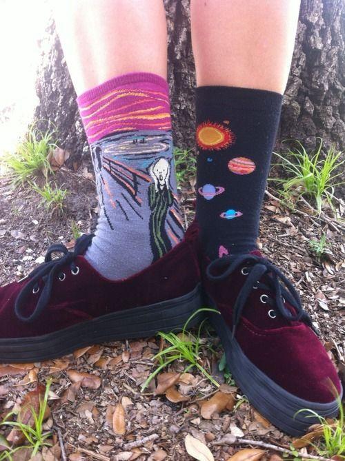 Velvet purplish red flatform sneakers (asos), edvard munch scream socks, solar system socks (amazon)