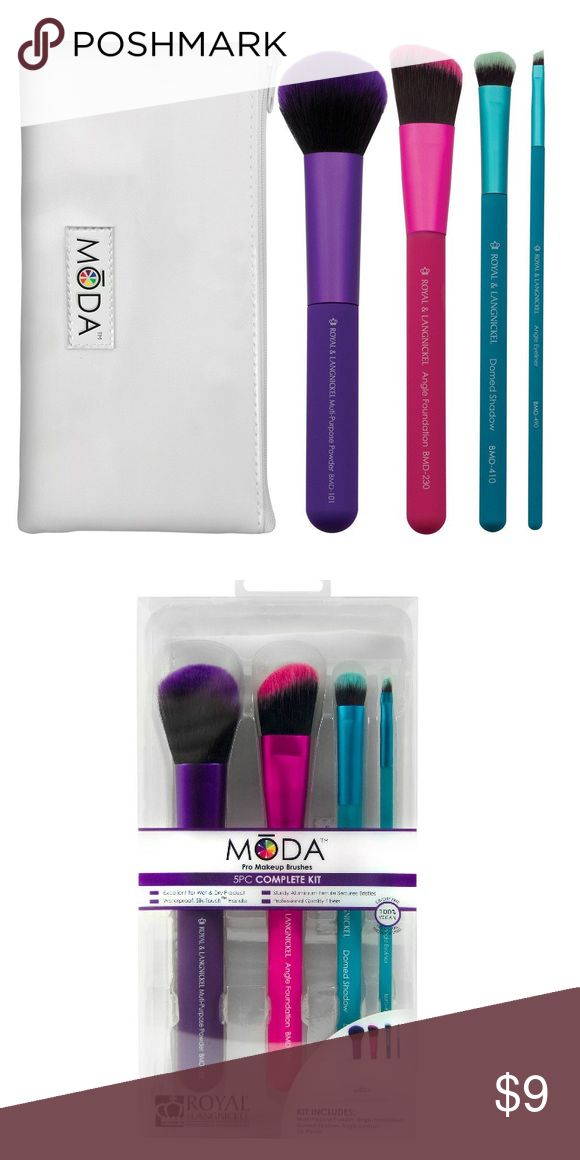 MODA Complete Brush Kit 5PC Brand new in box. 100% vegan. Includes 4 brushes and pouch. Moda International Makeup Brushes & Tools