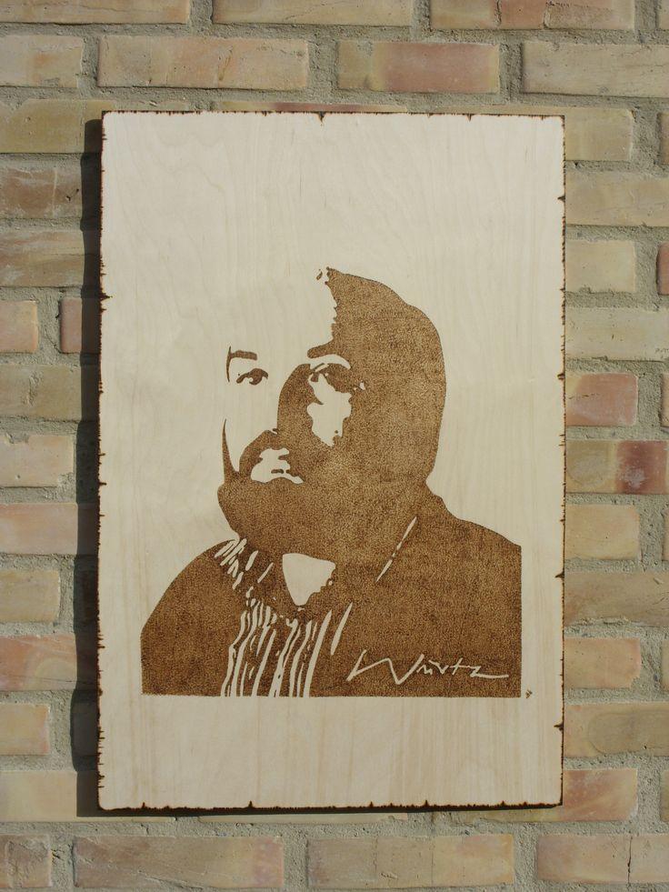 Würtz Ádám grafikus művész portréja - kézzel égetett, pirográf kép (pyrography art)
