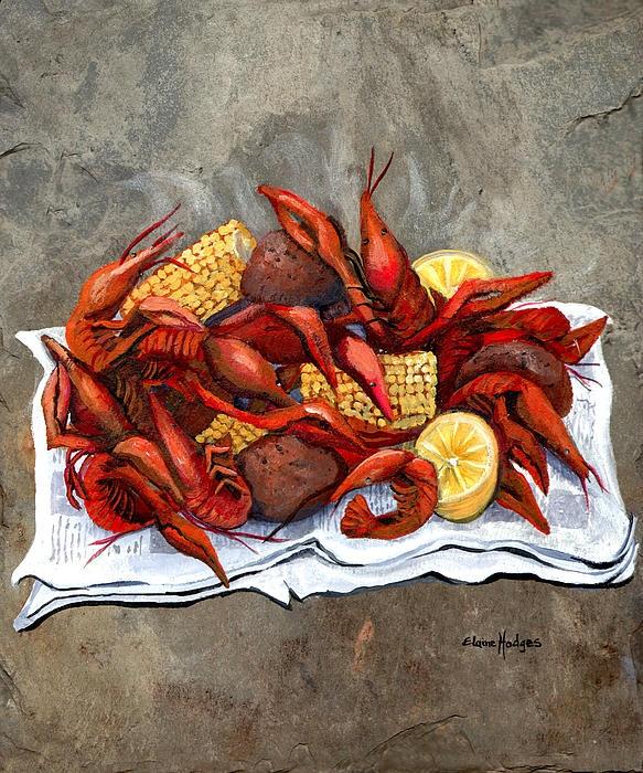 Hot Crawfish Painting - Hot Crawfish Fine Art Print - Elaine Hodges