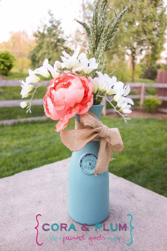 Shabby Chic Painted Carafe Vintage Home Decor Wedding Centerpiece Baby Bridal Shower Vase on Etsy, $14.50