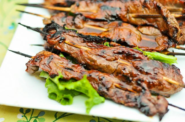 beef teriyaki skewers with ramps or scallions recipe for grilled beef ...