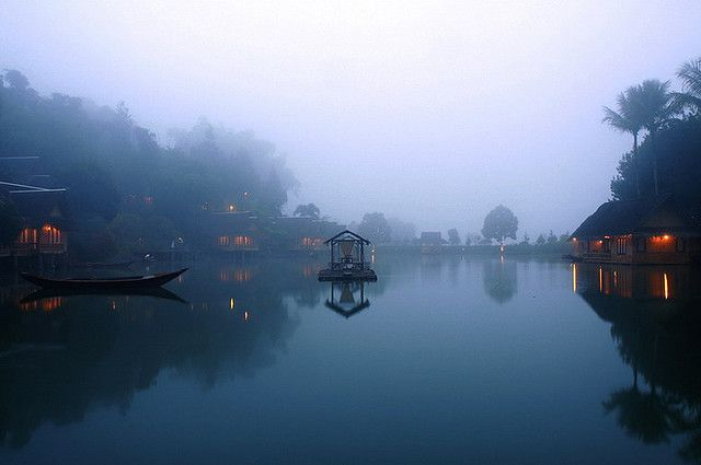 Misty morning at Kampung Sampireun, Java, Indonesia.