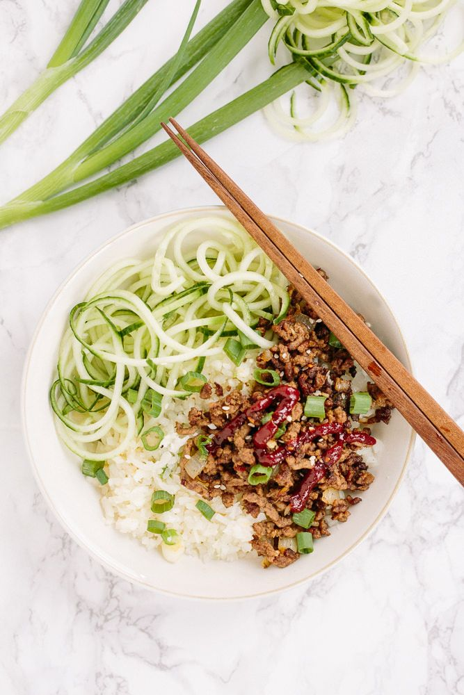 Korean Beef Rice Bowls with Spiralized Cucumbers and Daikon Rice - Weight Watchers SmartPoints: 7 points