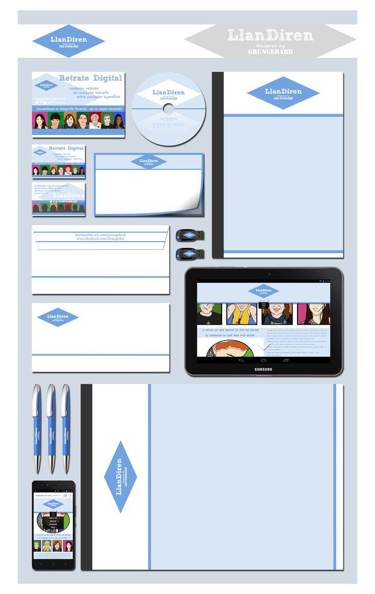 """Práctica de Mockup para """"LlanDiren Retratos"""", empresa o imagen corporativa (Logo, productos, apps, merchandising)."""