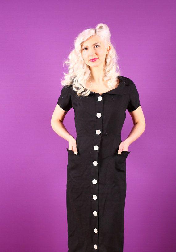 50s Black Dress Pat Premo Linen Dress With Big White