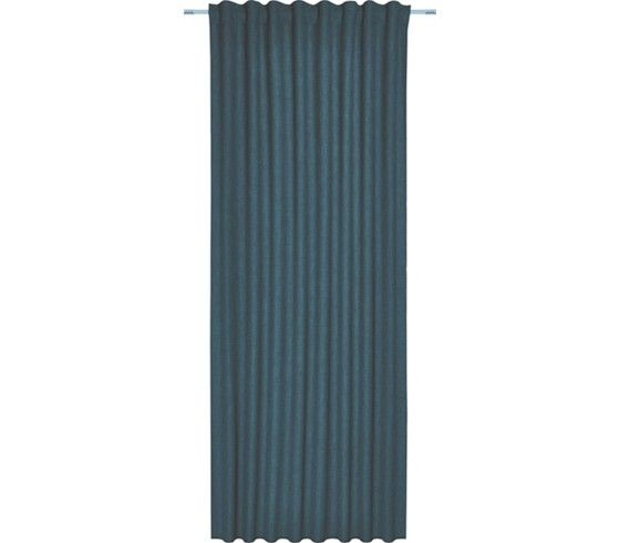 Készfüggöny: azúr szín, 100% poliészter, szövet, széles szalaggal, kb. 135/255cm, rúdhoz és sínhez
