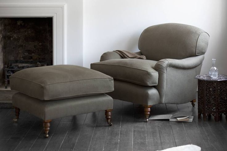 Howard chair and ottoman in Bantry linen - hemp green. Grab a book, put your feet up...