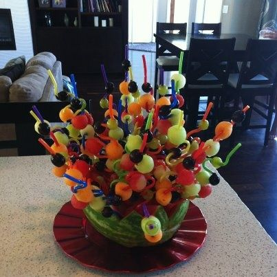Silly straw fruit kabobs!  Great snack for parties …..or kids
