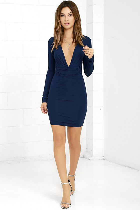 Navy Blue Holiday Dress- Lulus