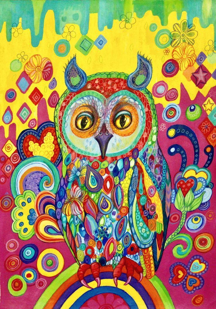 Rainbow Owl by Frecklepop on Etsy https://www.etsy.com/nz/listing/518119940/rainbow-owl