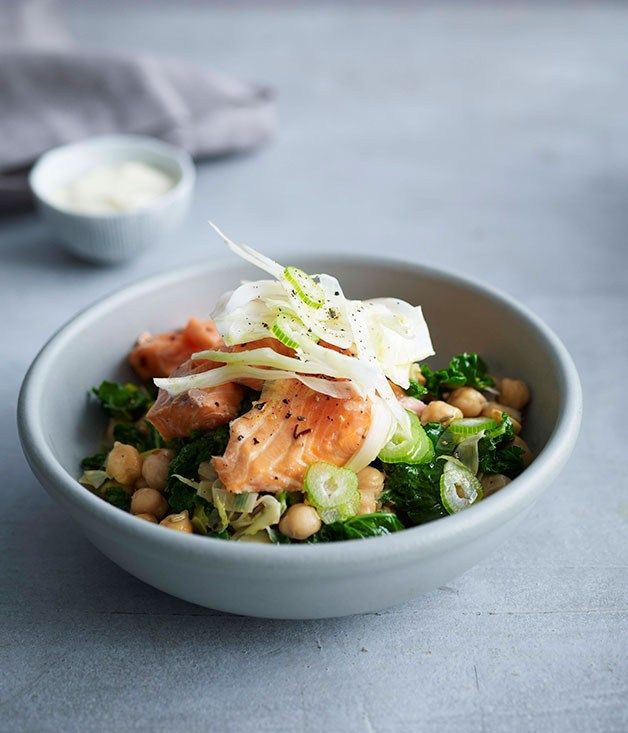 Seafood [fresh, easy, grill] | Roast ocean trout with kale, fennel and chickpeas - Recipe untried.